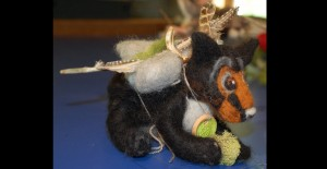 Black Bear felted armature and artifacts