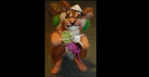 chipmunk felted armature and artifacts