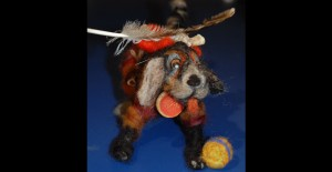 Hound Dog mix with ball felted armature and artifacts