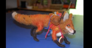 Red Fox felted armature and artifacts