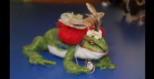 Bullfrog felted armature and artifacts