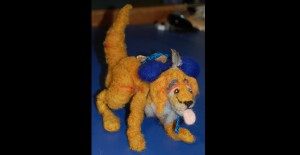 Golden Retriever felted armature and artifacts