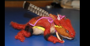 Arizona Horned Toad Lizard felted armature and artifacts