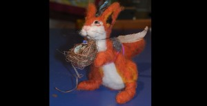 rabbit felted armature and artifacts