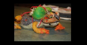 American Toad felted armature and artifacts